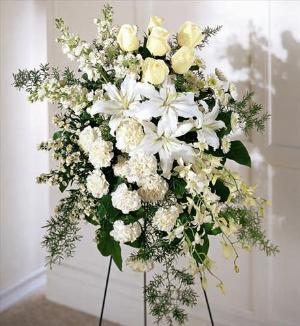 Quiet Tribute Standing Spray by America's Funeral Florist