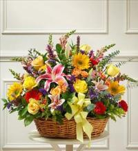 Bright Flower Sympathy Basket by America