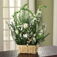White Tulips, Snapdragons & Heather Basket by America