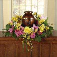 Yellow Roses, Pink Carnations & Yellow Alstroemeria Memorial Wreath for a Urn by America's Funeral Florist