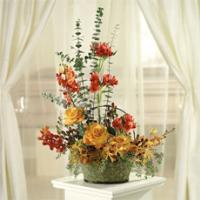 Yellow Roses, Red Alstroemeria, and Orchids Basket by America