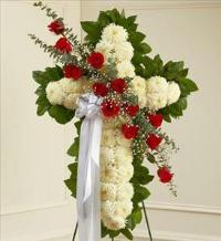 White Standing Cross with Red Rose Break by America