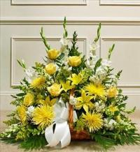 Yellow and White Mixed Fireside Basket by America