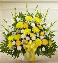 Yellow and White Sympathy Floor Basket by America