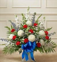 Red White And Blue Sympathy Floor Basket by America