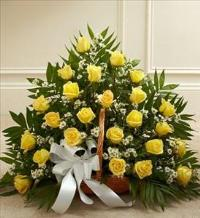 Yellow and White Rose Fireside Basket by America