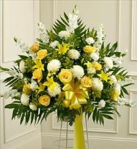 Yellow and White Sympathy Standing Basket by America