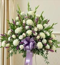 Lavender and White Sympathy Standing Basket by America
