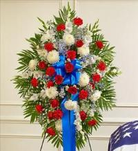 Red, White and Blue Sympathy Standing Spray by America