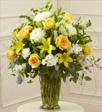 Yellow and White Large Sympathy Vase Arrangement by America