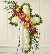 White Standing Cross with Bright Flower Break by America