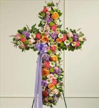 Pastel Mixed Flower Standing Cross by America