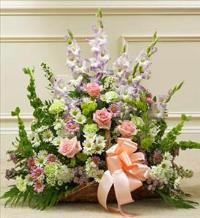 Pastel Mixed Flower Fireside Basket by America