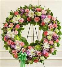 Pastel Mixed Flower Wreath by America