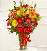 Large Sympathy Vase Arrangment in Fall Colors by America
