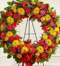 Standing Sympathy Wreath in Fall Colors by America