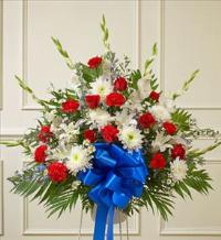 Red, White and Blue Sympathy Standing Basket by America