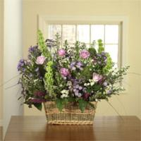 Lavender Roses, Bells of Ireland & Purple Monte Cassino Spray Aster in a Basket by America