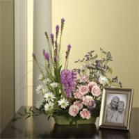 Pink Spray Roses, Orchid Hyacinths & White Daisy Pom Memorial Arrangement by America