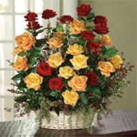 Red, Orange Roses and Red Huckleberry Arrangement by America