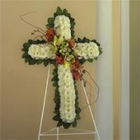 White Cushion Poms, Green Cymbidium Orchids & Red Novelty Orchids Standing Cross by America