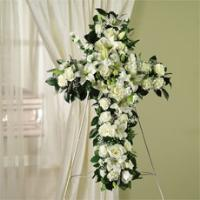 White Roses, Lilies & Carnations Standing Cross by America