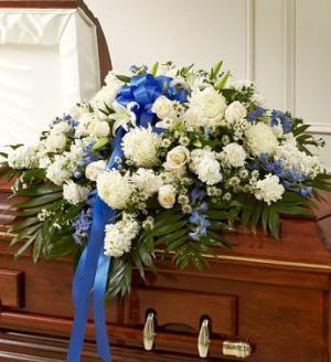 Blue And White Half Casket Cover by America's Funeral Florist