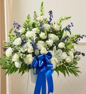 Blue and White Sympathy Standing Basket by America's Funeral Florist
