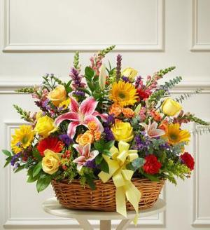 Bright Flower Sympathy Basket by America's Funeral Florist