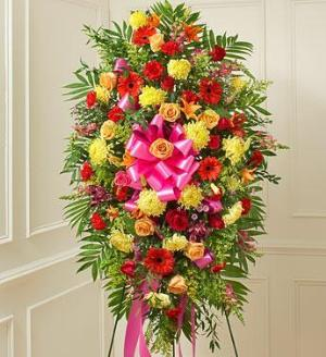 Bright Sympathy Standing Spray by America's Funeral Florist