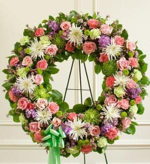 Pastel Mixed Flower Wreath by America's Funeral Florist