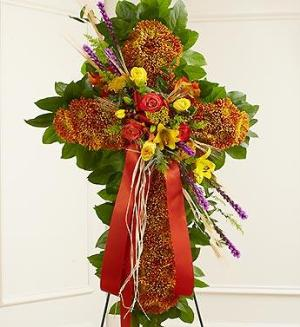 Mixed Flower Standing Cross in Fall Colors by America's Funeral Florist