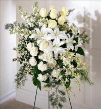 Quiet Tribute Standing Spray by Americas Funeral Florist