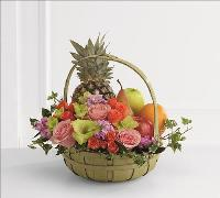 Rest in Peace Fruit & Flowers Basket by America