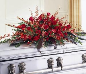 Deeply Adored Casket Spray by America's Funeral Florist