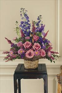 Lavender & Blue Flower Basket by America