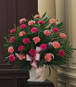 Basket with Pink Carnations by America's Funeral Florist
