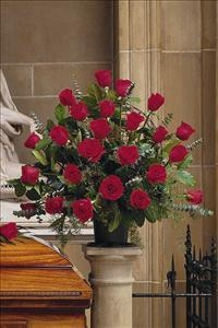 Basket with 24 Red Roses by America