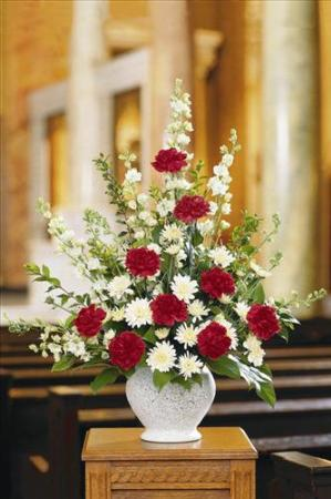 Red & White Fan Shape by America's Funeral Florist