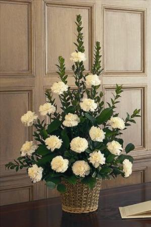 White Carnation Basket by America's Funeral Florist