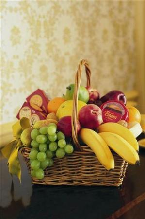 Cheese, Crackers & Fruit Basket by America's Funeral Florist