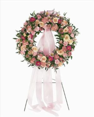 Mixed Pink Wreath by America's Funeral Florist