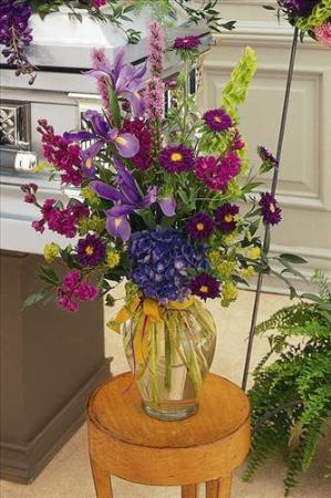 Blues & Purples in Glass Vase by America's Funeral Florist
