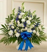 Blue and White Sympathy Floor Basket by America