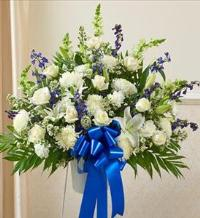 Blue and White Sympathy Standing Basket by America
