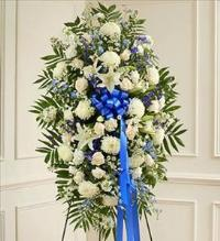 Blue and White Sympathy Standing Spray by America