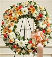 Peach, Orange and White Standing Wreath by America