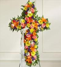 Multicolor Bright Mixed Flower Standing Cross by America