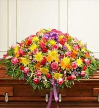 Bright Mixed Flower Full Casket Cover by America