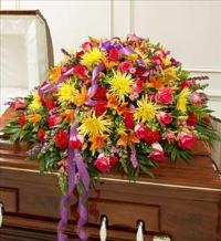 Bright Mixed Flower Half Casket Cover by America